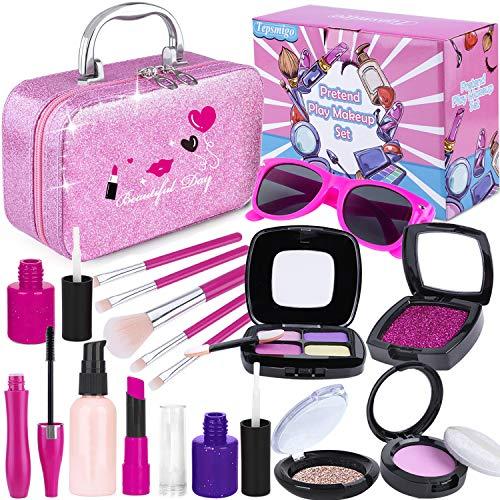 TEPSMIGO Maquillaje Niñas, Juguetes de Kit de Maquillaje, Niñas Regalo de Princesas para Niñas Juguete para Los Niños en Fiesta
