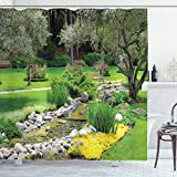 ABAKUHAUS Jardín Cortina de Baño, Paisaje japonés Parque, Material Resistente al Agua Durable Estampa Digital, 175 x 200 cm, Verde