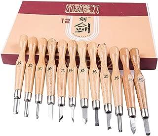 Set de 12 herramientas de talla de madera SK7 Steel Sharp y Stronger Knife Herramientas de carpintería de acero al carbono Kit talla hecha a mano para escultura DIY, para Principiantes y profesionales