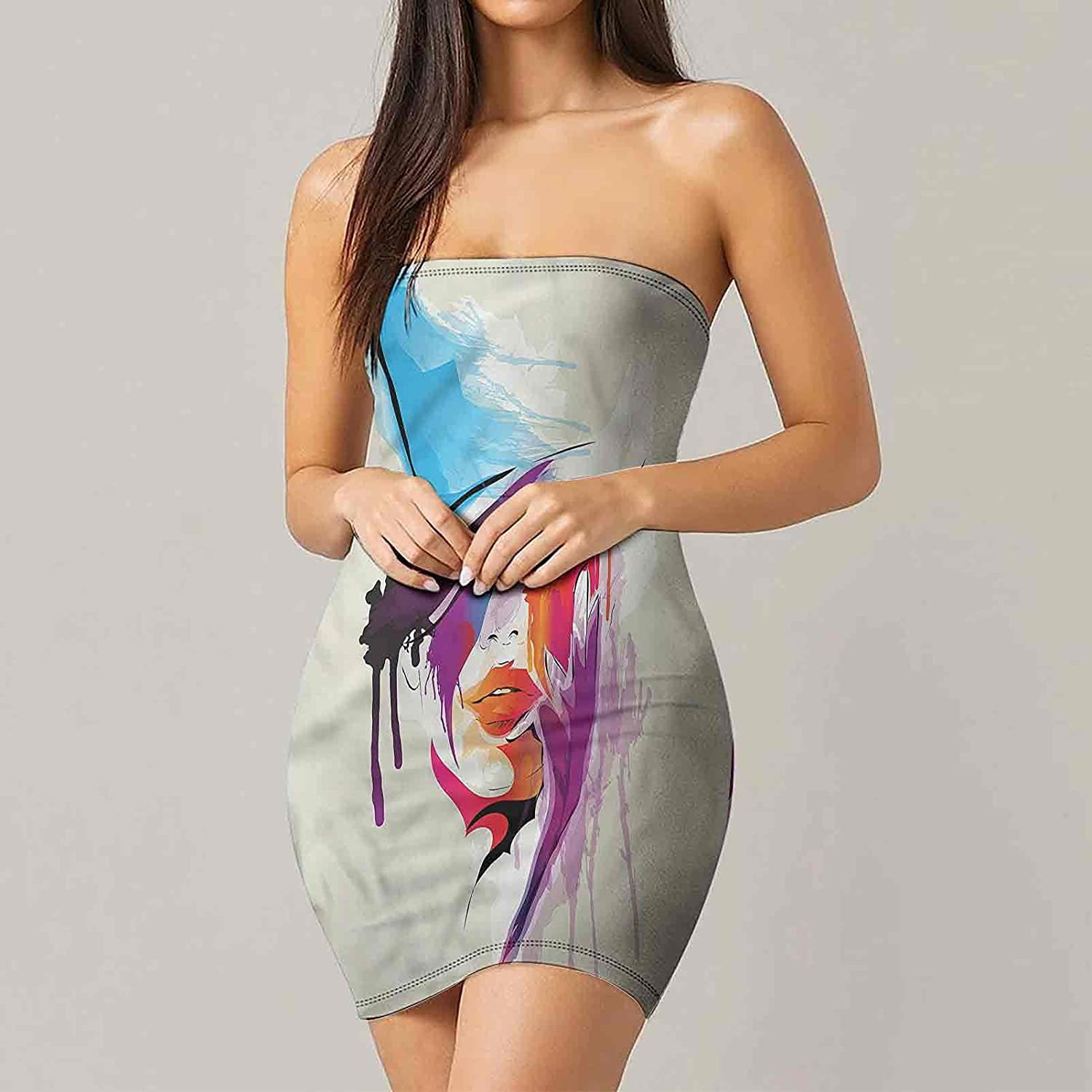 Women's Strapless Bodycon Club Dress Fantasy Candyland Sweets Dresses
