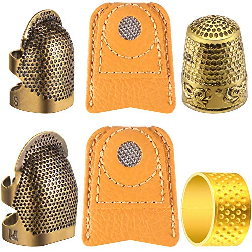 Medium EJY Leather Sewing Thimble Finger Protector Sewing Thimble Adjustable Finger Ring Fingertip Thimble Sewing Tools