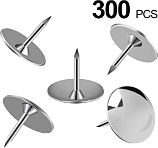 MROCO Steel Thumb Tack, Thumb Tacks Push Pins Silver Round Head Pins Office Thumbtack, Push Pin for Home, School, Sharp Steel Points 3/8 Inch Head, Silver, Box of 300