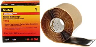Scotch(R) Rubber Mastic Tape 2228, 2 in x 10 ft, Black, 1 roll/carton