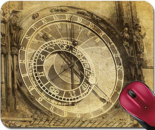 Gaming Mauspad,Gummi Mousepad,Genähte Kanten,Mausmatte Vintage Bild Der Prager Astronomischen Uhr Orloj In Der Altstadt Von Prag 30X25CM,Rutschfeste Unterseite,Maus Mausunterlage