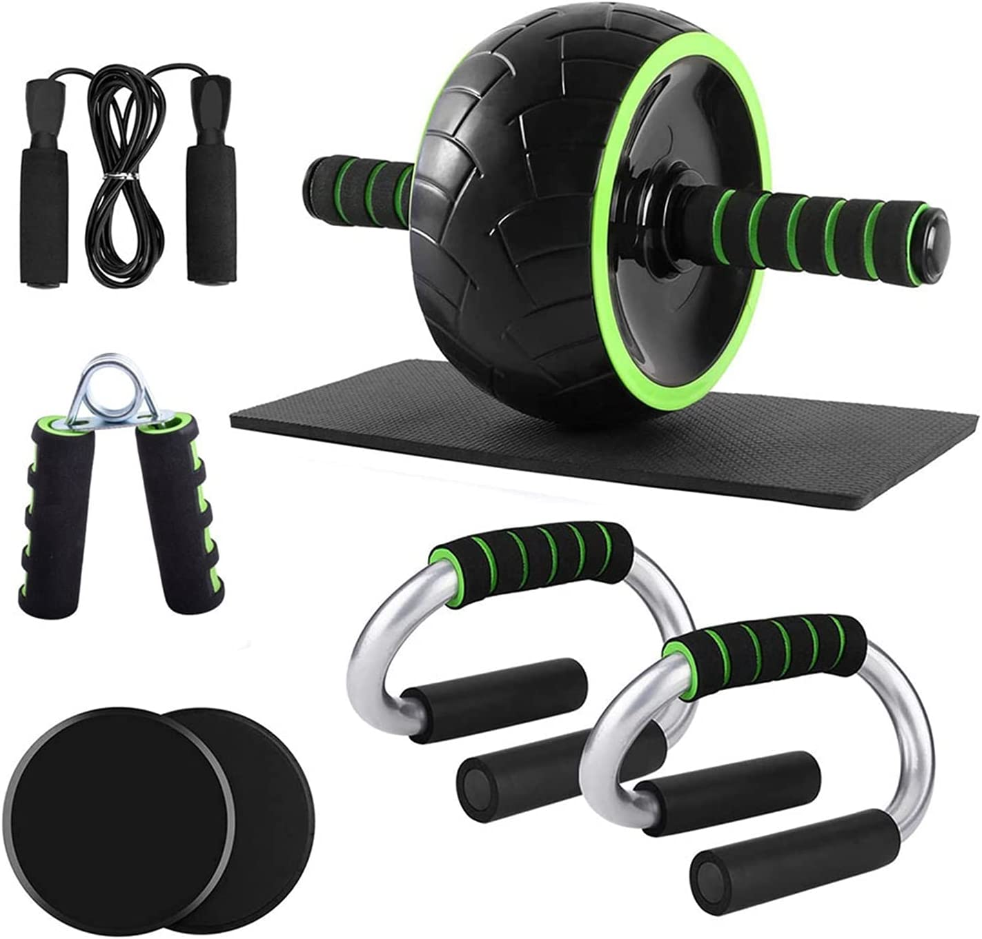 EFDW AB Wheel Roller Set 6-in-1 with Push Up Bars Gliding Discs