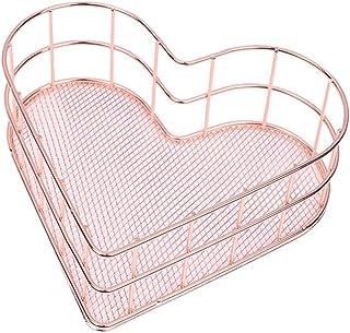 Cesta de almacenamiento Alambre de cobre Estantes del baño Organizador de maquillaje Oro rosa Cepillo Titular de la pluma Malla de alambre Artículos de tocador de baño Cesta de almacenamiento