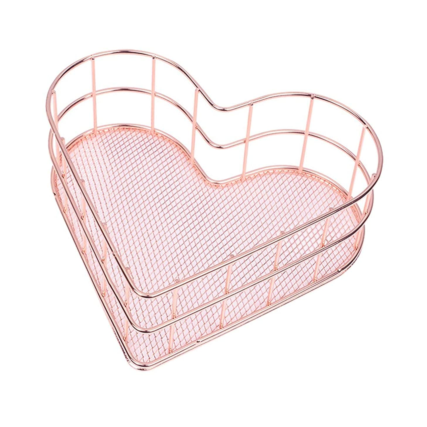 Likense Heart Shaped Rose Gold Storage Basket Makeup Organizers Box, Hollow Metal Jewelry Cosmetic Tools Storage Tray Table Office Home Bathroom Bedroom Organizers