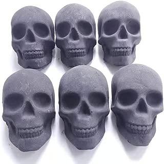 6個セット skull charcoal ドクロ型の炭、スカル型着火剤、スカル型木炭、燃える頭骨、焚き火を燃やし、明火を生む、髑髏型の炭、BBQ・焚火・アウトドアの新定番!