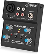 Pyle 2-Channel Audio Mixer - DJ Sound Controller Interface with USB Soundcard for PC Recording, XLR and 3.5mm Microphone Jack, 18V Power, RCA Input and Output for Professional and Beginners - PAD10MXU