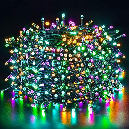 Quntis 50m 500 LED Lichterkette Außen Bunt, IP44 8 Modi Cluster Lichterkette, Weihnachtsbeleuchtung Innen Strombetrieben, Weihnachtsdeko für Weihnachtsbaum Garten Balkon Terrasse Zimmer Fenster Party