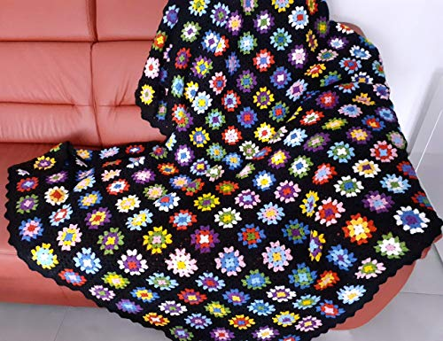 Patchwork Decke 120x200, XXL, Tagesdecke, Plaid, gehäkelt, Granny Square, Handarbeit, Vintage Look