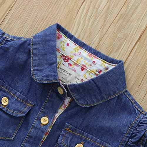 Vestido de Princesa Niña Volantes Mezclilla con Bolsillo Sin Mangas Ropa Bebés Niñas Vestidos Bebé Niña Recién Nacido (Azul Oscuro, 12-24 Meses)