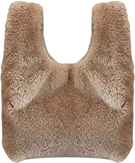 Fanspack Women Handbag Fashion Solid Color Slouchy Fuzzy Tote Bag Top Handle Bag for Party