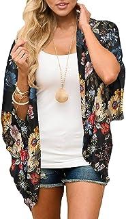 ECOMBOS Damen Florale Kimono Cardigan - Chiffon Cardigan Tops Casual Lose Bluse Shawl Sommer Boho Beach Cover up Leichte Strand Jacke