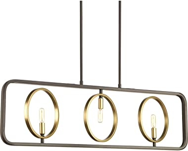 Progress Lighting P400039-020 Swing Three-Light Island, Antique Bronze