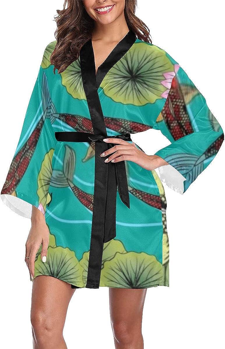Womens Robe Drawing Koi Lotus Si Flower Lightweight Kimono Robes Very Challenge the lowest price of Japan popular
