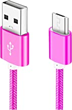 Micro USB Cable, 5ft 1 Pack Charging Cord Nylon Braided High Speed Durable Fast Charging USB Charger Android Cable Compatible with Samsung Galaxy S7 Edge S6 S5,Android Phone,LG G4,HTC-Rose