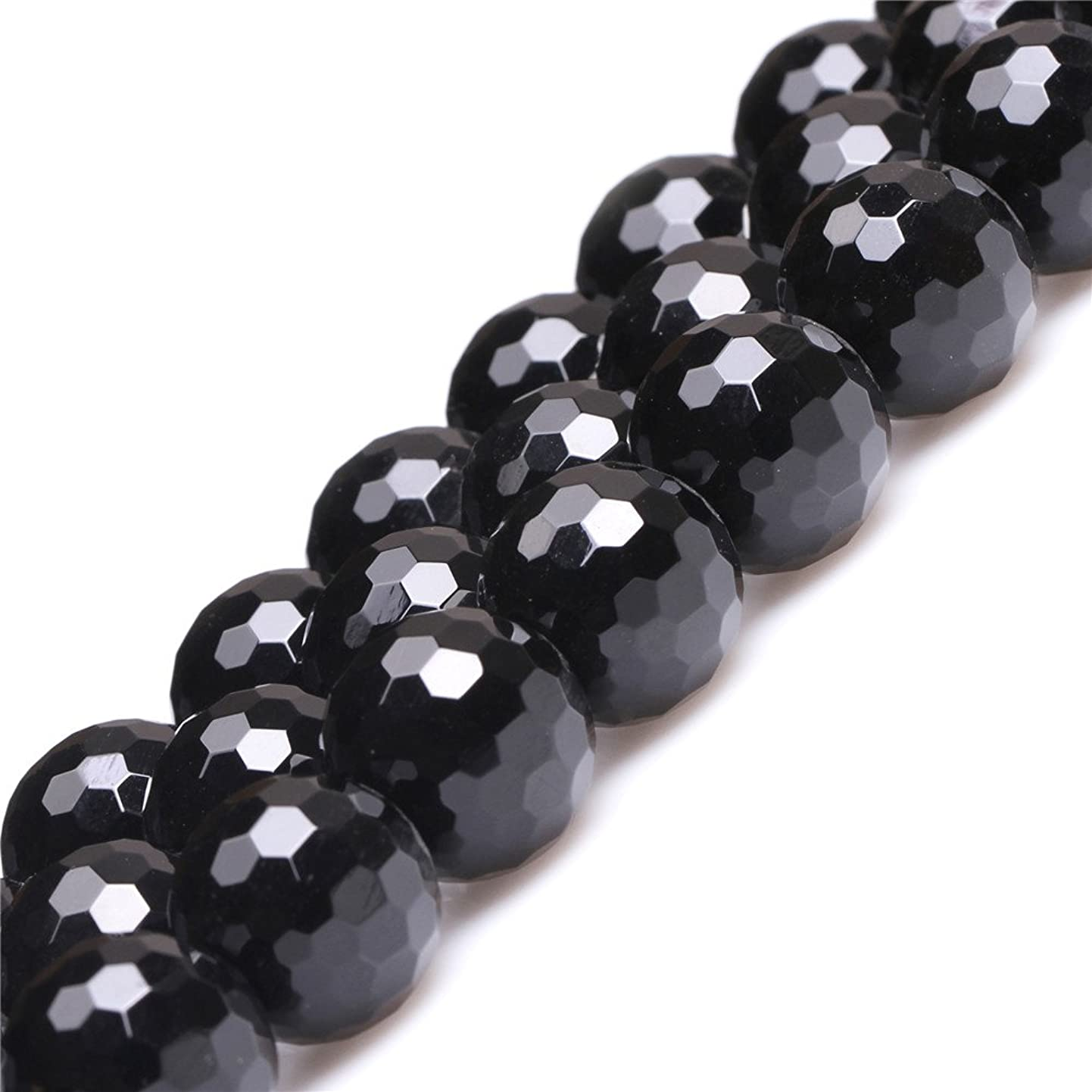 JOE FOREMAN 18mm Black Agate Semi Precious Gemstone Round Faceted Loose Beads for Jewelry Making DIY Handmade Craft Supplies 15