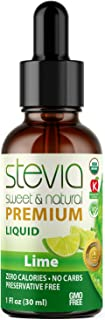 Lime Premium Quality Stevia Drops | Organic Liquid Stevia | Best Sugar Substitute | 100% Pure Extract | All Naturally Swee...