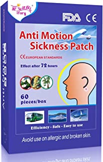 ifory 60 Count Sea Sickness Patches Behind Ear, Motion Sickness Patches for Cruise, Car, Airplane, Anti Nausea Patches with Non Drowsy