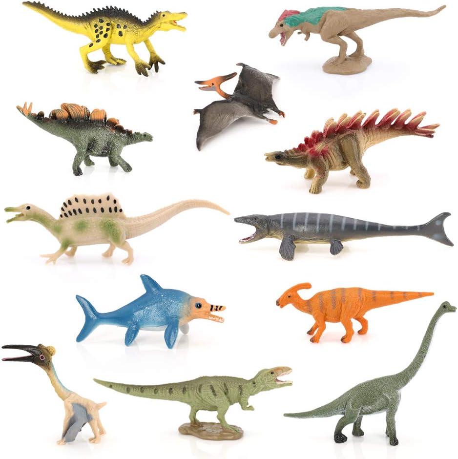 12pcs Assorted Plastic Dinosaurs Model Realistic Appearance