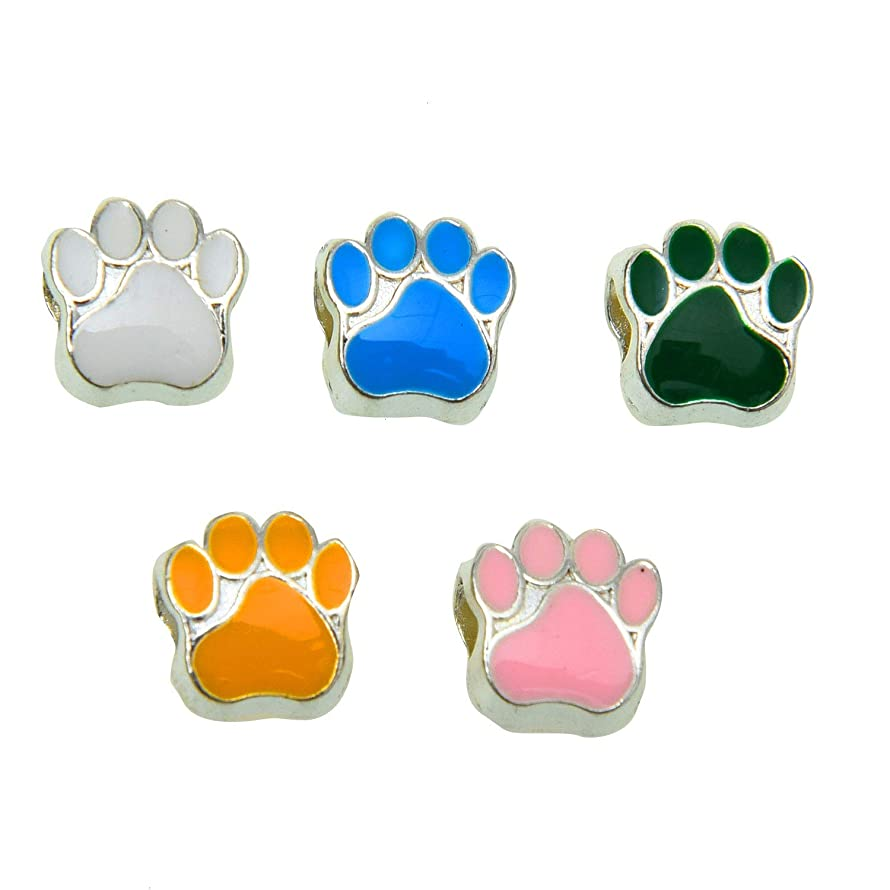 Monrocco 40 Pcs Mixed Color Cat Dog Bear Paw Footprint Beads European Large Hole Spacer Beads