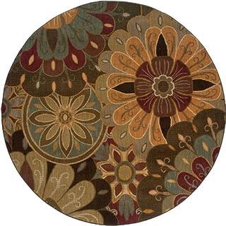 "Moretti San Torino Area Rug 2942A Tan Flowers Stylized 7' 8"" x 7' 8"" Round"
