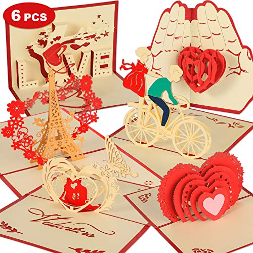 6 Pieces Valentine's Day Pop Up Cards 3D Red Heart Greeting Card Assorted Styles Love Rose Pop Up...