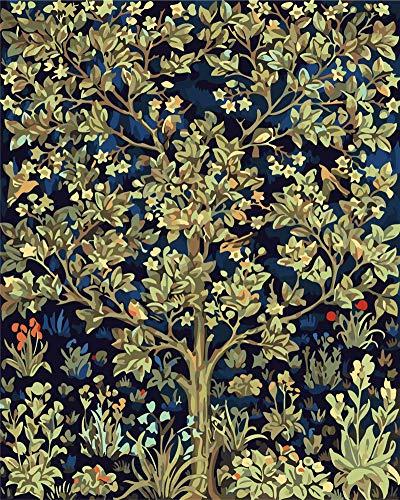Gofission - Pintura por números para adultos y niños, diseño de árbol de la vida, pintura al óleo de 40 x 50 cm (árbol, con marco)