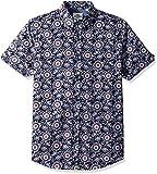 Ben Sherman Men's Short Sleeve Paisley Print Shirt, Navy, Medium