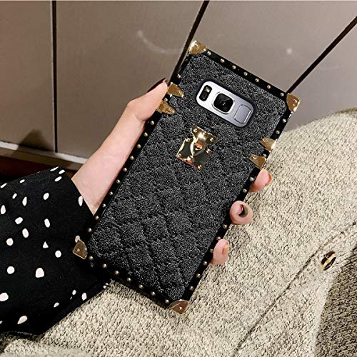Galaxy S8 Plus S8+ Grid Plaid Case,SelliPhone Luxury Design Cute Slim Diamond Lattice Soft TPU Trunk Case,Unique Women Girls Lady Phone Skin for Samsung Galaxy S8 Plus (2017),Black