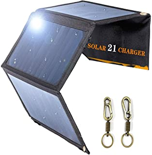 USB 21W Solar Charging Board, Portable Charger, Waterproof Foldable Camping Travel Charger Compatible iPhone Xs XS Max XR X 8 7 Plus, iPad, Galaxy S9 S8 Edge Plus, Note, LG, Nexus and More