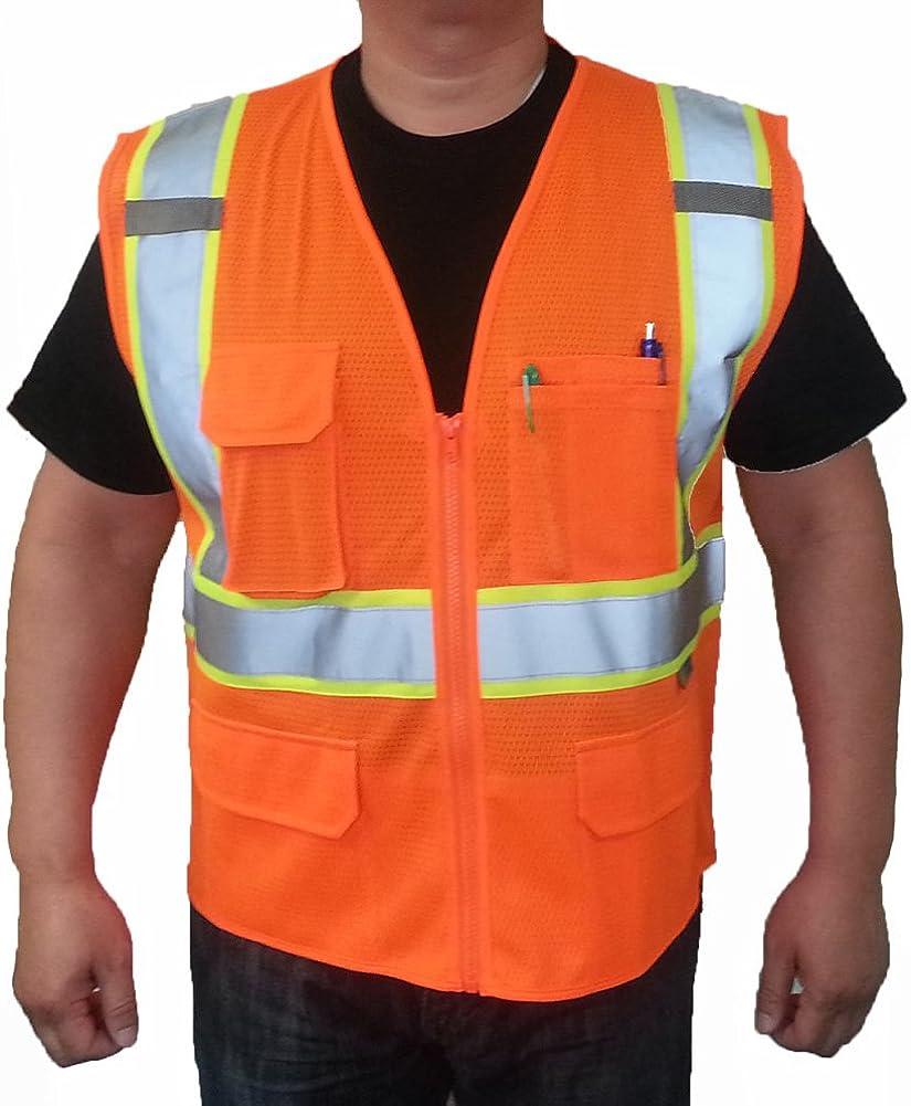 "3C Products SV2600,ANSI/ISEA Class 2,High Visibility Mesh Vest,2"" Reflective w/Yellow Binding, Zipper,9 Pockets, Neon Orange"