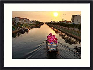 OiArt Wall Art Canvas Prints Wood Framed Paintings Artworks Pictures(20x14 inch) - Flower Market Vietnam The City Each Ho Chi Minh