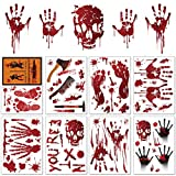 Halloween Wall Stickers Bloody Handprint Footprint, Horror Window Floor Clings, Spooky PVC Stickers Decals for Vampire Zombie Party Decorations Supplies, 8 Sheets