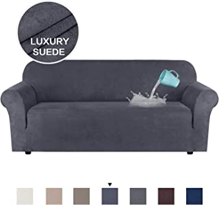 H.VERSAILTEX High Stretch Sofa Slipcover Suede Plush Sofa Cover Form Fit Slip Resistant Stylish Furniture Protector Machine Washable, Sofa 3 Seater, Large Size, Bluish Gray