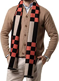 Men Business Cashmere Long Scarf Autumn Winter Warm Plaid Neck Wrap Shawl (Plaid block)