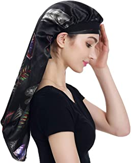 Alnorm Long Satin Bonnet Sleep Cap– Double Layer, Soft Elastic Band