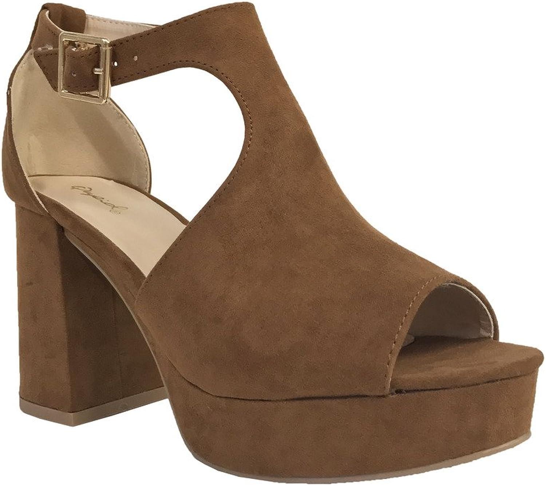 Qupid LAWSON-01  Women's Peep Toe T-Strap High Heel Chunky Heel Platform Sandals