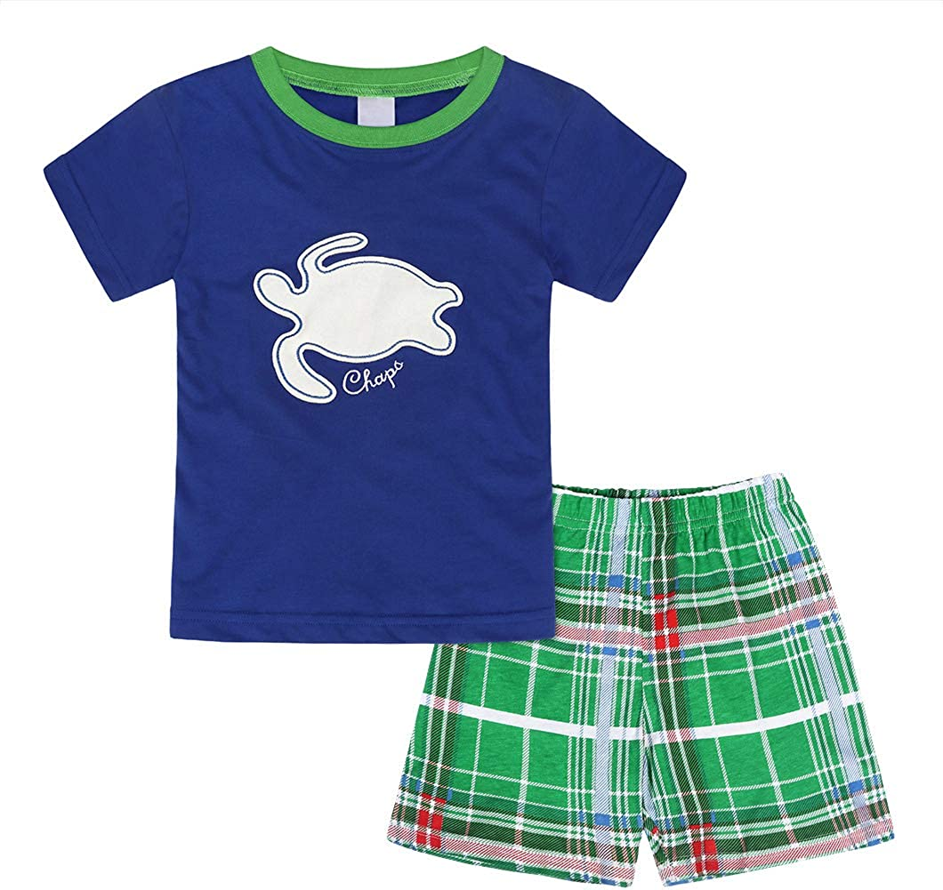 Jurebecia Boys Summer Outfits Short Sleeve Tee and Shorts Sets Toddler Kids Cotton Two-Pieces Playwear Set
