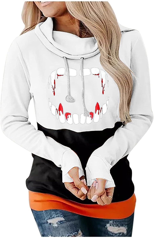 DOSUKRAI Womens Color Patchwork Sweatshirts Halloween Teeth Pattern Hoodies Winter Crewneck Long Sleeves Tops