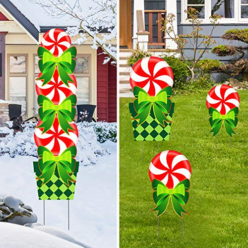 Christmas Decorations Outdoor Candy Peppermint Stand, Yard Signs for Xmas Holiday Decor Signs, Giant Candy Themed Party Outdoor Yard Lawn Sign