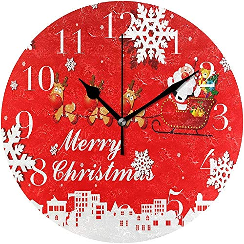 Caonm Animierte Weihnachtsclipart Happy Silent Non Ticking Runde Acryl Wanduhr Dekorative Uhr Kunst