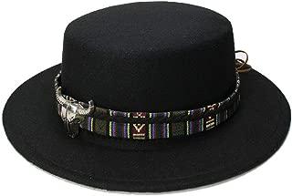Bin Zhang Retro Women Men Vintage 100% Wool Wide Brim Cap Pork Pie Porkpie Bowler Hat Cow Head Leather Band)