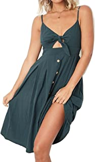 Womens Summer Dresses Bohemian V-Neck Spaghetti Strap Swing Midi Dress with Bow Tie