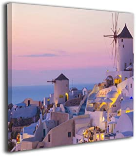 MoulMa Canvas Oia Sunset, Santorini Island, Greece Picture Paintings Wall Art Prints Modern Home Decoration Giclee Artwork-Wood Frame Gallery Stretched