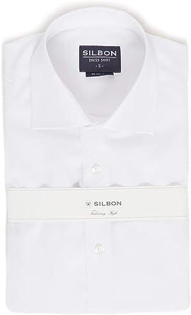 SILBON - Camisa Vestir puño Doble Blanca para Hombre: Amazon ...
