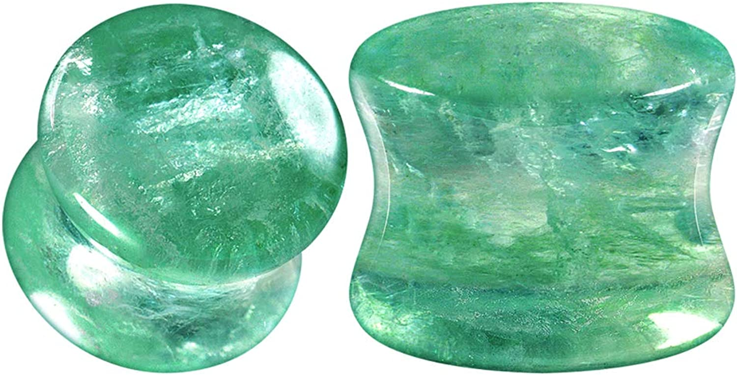 BIG GAUGES Pair of Green Fluorite Stone Double Flared Saddle Piercing Jewelry Ear Stretcher Solid Plugs Flesh Earring Lobe
