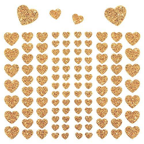 Oblique-Unique® 106 Herz Aufkleber mit Glitzer Effekt in Champagner Herzen Sticker für Scrapbooking Deko Basteln