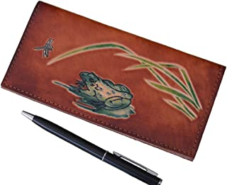 BPLeathercraft Genuine Leather Checkbook Cover, Pool Frog & Dragonfly Patterns, More Color